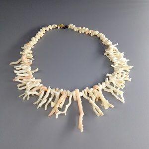 Vintage Angel Skin Branch Coral Fringe Necklace